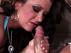 Raquel Devine has fire in her eyes while sucking mans hard snake