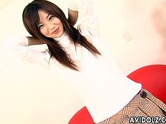 Cute Japanese gal gets rid of clothes and poses in her sexy lingerie