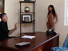 Part of the massive group of new girls just making it on to film, Chloe is going for her shot at fame. She spreads her legs over his wide desk and lets him suck on her tits. After they kiss, she bends over to offer him access to her pussy and ass. Watch and see what gets licked, sucked and poked.