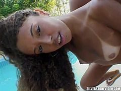 Pretty curly girlie with natural tits gives head and fucks in mish pose outdoors