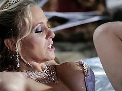 Julia Ann shows her slutty side to hard dicked dude by taking his rock hard love wand in her mouth