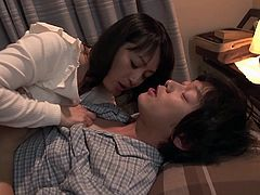 Hot mature slut Yumi, caught him sniffing her panties, but that's Ok because it turns her on. She knows how to make him harder, she licks his nipples and kisses him hard. Her lips on his stiff cock is pure heaven.