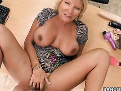 Blonde Robbye Bentley gets her mouth attacked by guys meaty throbbing rod