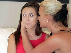 Tender brunette Jenna Sativa in red tank top shows her cute natural tits to blonde MILF Phoenix Marie. They are on the way to lesbian sex. Watch teen girl get seduced by a hot woman.