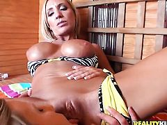 Blonde cutie Brianna Ray with big knockers and trimmed beaver is sexually happy to be pumped by (Talk to This Girl with rock hard meat pole over and over again