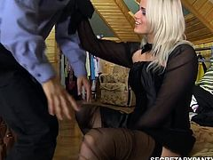 Hot russian milf gets fucked by guard