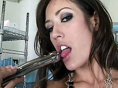 Capri Cavalli does striptease before she masturbates with passion