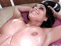 Charley Chase with giant breasts plays with her clit as she gets her hole pumped