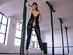 Mistress in skintight leather humiliates you