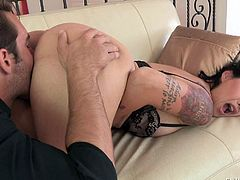 Dana Vespoli is a sexy asian woman with nice ass. Exotic tattooed MILF takes off her panties and bends over in front of her stepson. He rubs her meaty pussy from behind and slaps her booty.