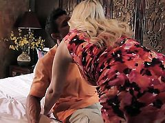 Julia Ann gives handjob to one lucky guy