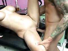 Jessica Jaymes has fire in her eyes as she gets her mouth fucked by her bang buddy