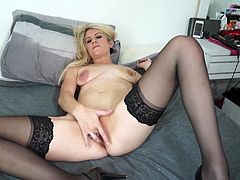 You are supposed to love yourself and Ashleigh does follow that philosophy. Like many of us, she loves herself with her hands on her naked body, rubbing her tits and pussy, freshly shaven in case a lover comes around. She really gets into it, moaning louder as she goes along. Watch it now!