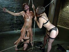 Bobbi has been aching to get dominated by lovely ladies, and she gets her ache soothed by Donna and Gia. They tie her up and wet her, then use electric toys on her and more, to bring her some pain as well as pleasure, gagging her mouth to muffle any noises she might make. They get her very good.