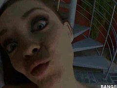 Brunette Liza Del Sierra with gigantic melons is curious about giving stroke job to horny guy