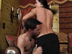 India Summer gets her mouth attacked by guys meaty erect meat stick