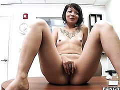 Brunette kitty Coco Velvett with tiny tities enjoys hardcore sex too much to stop