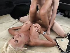 Blonde Puma Swede with phat bottom fulfills her sexual desires with mans sturdy man meat in her slit