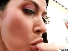 Brunette Eva Karera and horny dude are so fucking horny in this cock sucking action