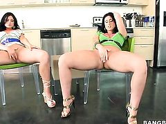 Brunette latin Ava Rose with juicy bottom is on fire in girl-on-girl action with lovely Luscious Lopez