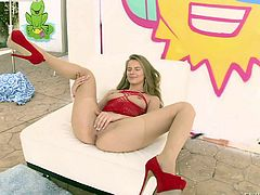 Naughty girl Jillian Janson in red high heels spreads her perfect legs and gets her shaved pussy licked by a lucky guy. This sweet babe with natural boobs loves oral sex.