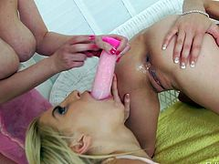 Amber Rayne, Ashley Fires, and Cherry Torn throw a lesbian anal party. Sweet brunette with small tits bends over and gets her asshole toy fucked by two hot chicks. They love playing with her hot butt.