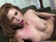 Brooklyn gets her mouth stuff with Mandingo's meat as her red hair. Mandingo's big black cock stretches her to the point that no non-black cock can do its job for her.