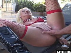 Her gaping hole says it all as this random dude sees how far it will open by sliding his slimy hands in and out of her ratchet shit pipe. The skanky little blond whore loves taking loads in her mouth