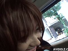 Horn-mad buddy wins a chance to play with tits of his Japanese GF in the car