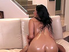 Missy Martinez is covered with oil in this video. She is getting anally pounded. Her curvy body really looks guy and the guy is just sliding on top of her because she is slippery.