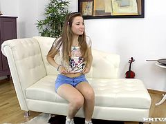 This pretty girl named Taissia is from Russia and in this scene she is being interviewed and fucked hard. Exposing her small tits she keeps smiling and answering the questions. Soon the guy moves close and has her suck on his cock and then he penetrates her pussy. Anal fucking leads to a facial.