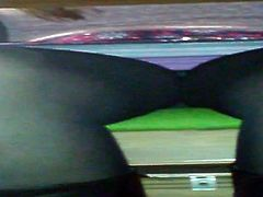 upskirt under table wit pantyhose
