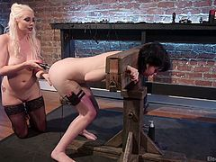 Lorelei is one of the meanest dommes around. She knows how to punish her slaves. Charlotte can't escape her prison, and being locked in stocks, mean the blonde goddess can stick an electric toy up her asshole.