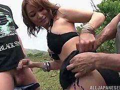 Me and my buddy headed out into the woods with our sexy female friend, to have a good time. She got down on her knees to suck my cock and my friend licked her cunt from behind. The hot slut sat on my face and I ate her out.