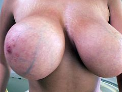 Check out the size of this chick's boobs. You will wonder, how she could find any bra to hold those babies up. Cassidy knows how to turn you on. In this video, you will see her nipples so close, as you have never seen before. Sit back, relax and watch her masturbate.