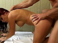 Johnny Sins has to spend some time with his boss after work. That would normally be a problem. Instead they go for the sauna and he fucks her there.