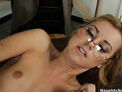 Completely cute whore Jessie Rogers with phat ass and clean bush is a hard dick addict and her fuck