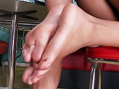 Magically sexy chica hussy Harley Dean shows her love for love wand sucking in blowjob action with horny dude
