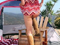 Gigi is at home in the desert. After all, she is Australian. This buxom blonde porn legend has traveled out to Senora to soak up the sun and take in the scenery. Camping is fun, but masturbating out in the open is much better. She is all alone for miles, so no one will catch her.