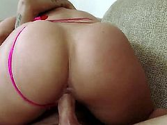 Latina likes to have her lover stick his tongue in her pussy and ass. That gets her wet so she starts sucking dick. She is getting cum in her mouth in a 69 position. Huge ass