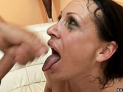 Mandy Bright is giving a blow job
