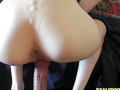 Brunette Kaitlyn Shanelle with giant knockers and hairless snatch and hot fuck buddy are so fucking horny in this dick sucking action