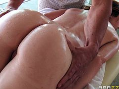 Mary Jane is very stressed. She is overworked and needs to relax. So, she went off to see her favorite masseur. He can give amazing rubdowns. The hunk rubbed oil all over her body, and before fucking her face with his massive cock.