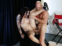 Johnny Sins stretches dangerously seductive Daisy Cruzs snatch with his stiff tool to the limit