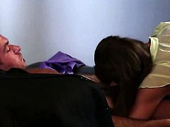 Chanel Preston lets man cover her nice face in man semen