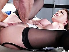 Johnny Sins makes Krissy Lynn with juicy tits suck his thick schlong non-stop