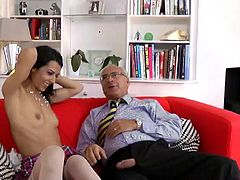 Old man and sexy pierced french girl