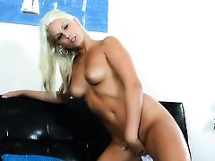 Blanche Bradburry finds herself horny enough and takes sex toy in her pussy hole with wild passion