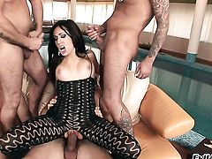 Ian Scott drills glamorous Greg Centauros beautiful face with his cock before she takes it in her anal hole