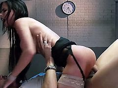 Brandy Aniston is willing to do whatever is needed to get the info. So she gives a blow job to one of the witnesses that is not cooperating. She uses her large tits to make the guy hard.